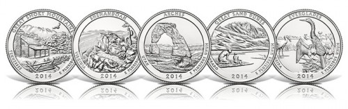 Images of the five 2014 America the Beautiful Quarters