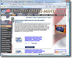 US Mint America the Beautiful Quarters Subscription Program Page