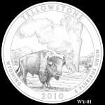 Yellowstone National Park Quarter, Design Candidate WY-01 - Click to Enlarge