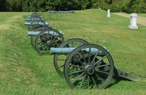 Cannons Along Union Lines in Vicksburg National Military Park in Mississippi