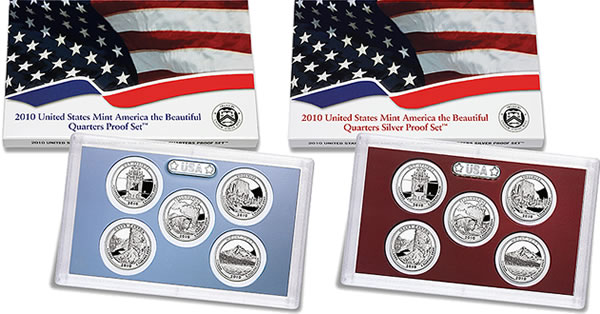 U.S. Mint images of the 2010 America the Beautiful Quarters Proof and Silver Set