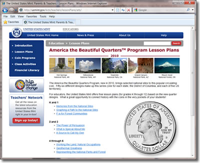 America the Beautiful Quarters Lesson Plan Page