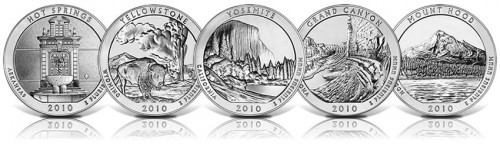 Each of the Five 2010 America the Beautiful Silver Coins