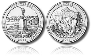 2011 Gettysburg and Glacier America the Beautiful Coins
