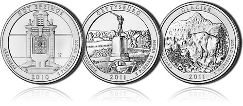 Hot Springs, Gettysburg and Glacier Coins