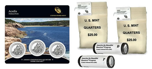 2012 Acadia America the Beautiful Quarters in Three-Coin Set, Bags and Rolls