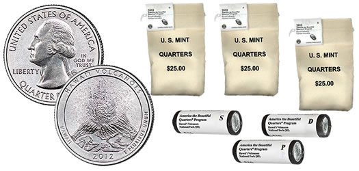 2012 Hawaii Volcanoes National Park Quarters in Rolls and Bags