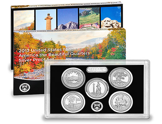 US Mint 2013 America the Beautiful Quarters Silver Proof Set