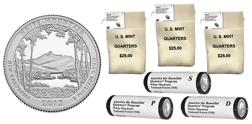Bags and Rolls of 2013 White Mountain National Forest Quarters