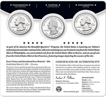 2013 Perry's Victory America the Beautiful Quarters Three-Coin Set - Back of Card