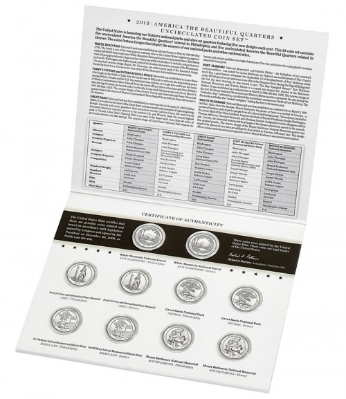 Inside Folder View of the 2013 America the Beautiful Quarters Uncirculated Coin Set