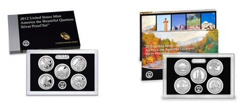 2012 & 2013 America the Beautiful Quarters Silver Proof Sets