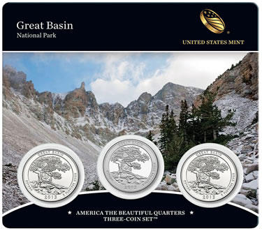 2013 Great Basin America the Beautiful Quarters Three-Coin Set (Front of Card)