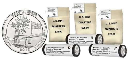 2013 Fort McHenry Quarters in Rolls and Bags