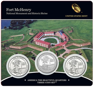 2013 Fort McHenry America the Beautiful Quarters Three-Coin Set (Front of Card)