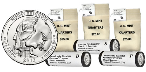 2013 Mount Rushmore Quarters in Rolls, Sets and Bags