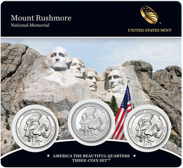 2013 Mount Rushmore America the Beautiful Quarters Three-Coin Set (Front of Card)