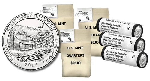 2014 Great Smoky Mountains Quarters in Rolls, Sets and Bags