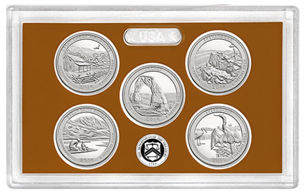Lens and coins of the 2014 America the Beautiful Quarters Proof Set