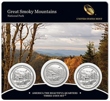 2014 Great Smoky Mountains America the Beautiful Quarters (Front of Card)