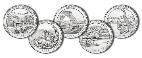 Images of the 2014 America the Beautiful Quarters