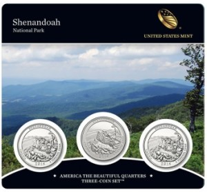 Shenandoah America the Beautiful Quarters Three-Coin Set (Front of Card)