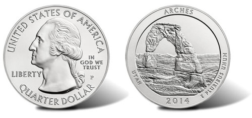 2014-P Arches National Park 5 oz Silver Uncirculated Coin
