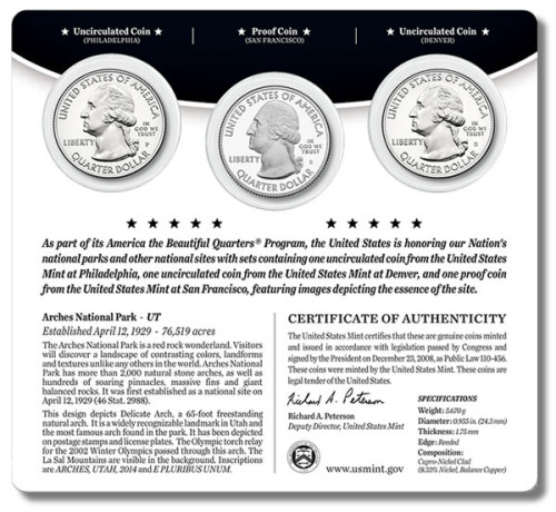Arches America the Beautiful Quarters Three-Coin Set (back)