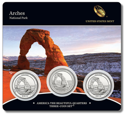 Arches America the Beautiful Quarters Three-Coin Set (front)