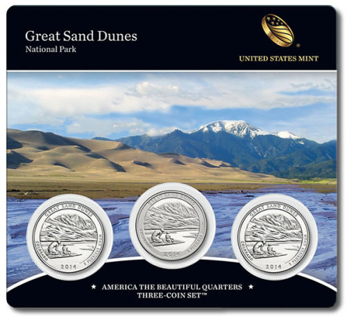 2014 Great Sand Dunes America the Beautiful Quarters Three-Coin Set - Front