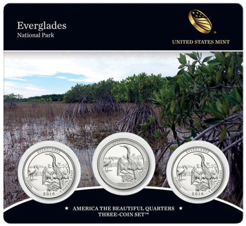 2014 Everglades America the Beautiful Quarters Three-Coin Set - Front