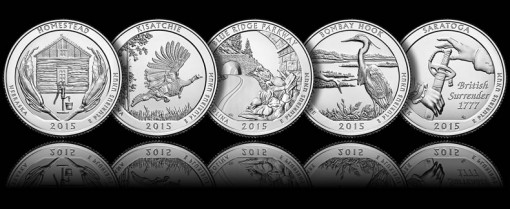 Images of the five 2015 America the Beautiful Quarters